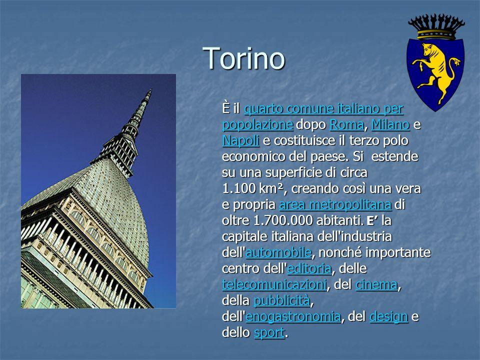 Torino È il quarto comune italiano per popolazione dopo Roma, Milano e Napoli e costituisce il terzo polo economico del paese. Si estende su una super