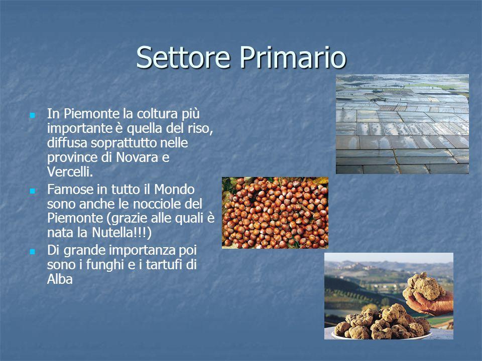 Settore Primario In Piemonte la coltura più importante è quella del riso, diffusa soprattutto nelle province di Novara e Vercelli. Famose in tutto il