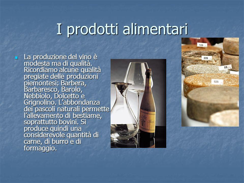 I prodotti alimentari La produzione del vino è modesta ma di qualità. Ricordiamo alcune qualità pregiate delle produzioni piemontesi: Barbera, Barbare