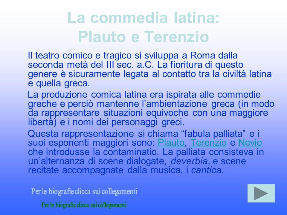 Plauto: biografia Plauto si dedicò solo ad un unico genere letterario, alla composizione di commedie, operando - grosso modo - una sintesi tra commedia greca nuova ed elementi indigeni, attinti dalla farsa italica.
