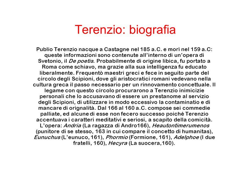 Publio Terenzio nacque a Castagne nel 185 a.C. e morì nel 159 a.C: queste informazioni sono contenute allinterno di unopera di Svetonio, il De poetis.