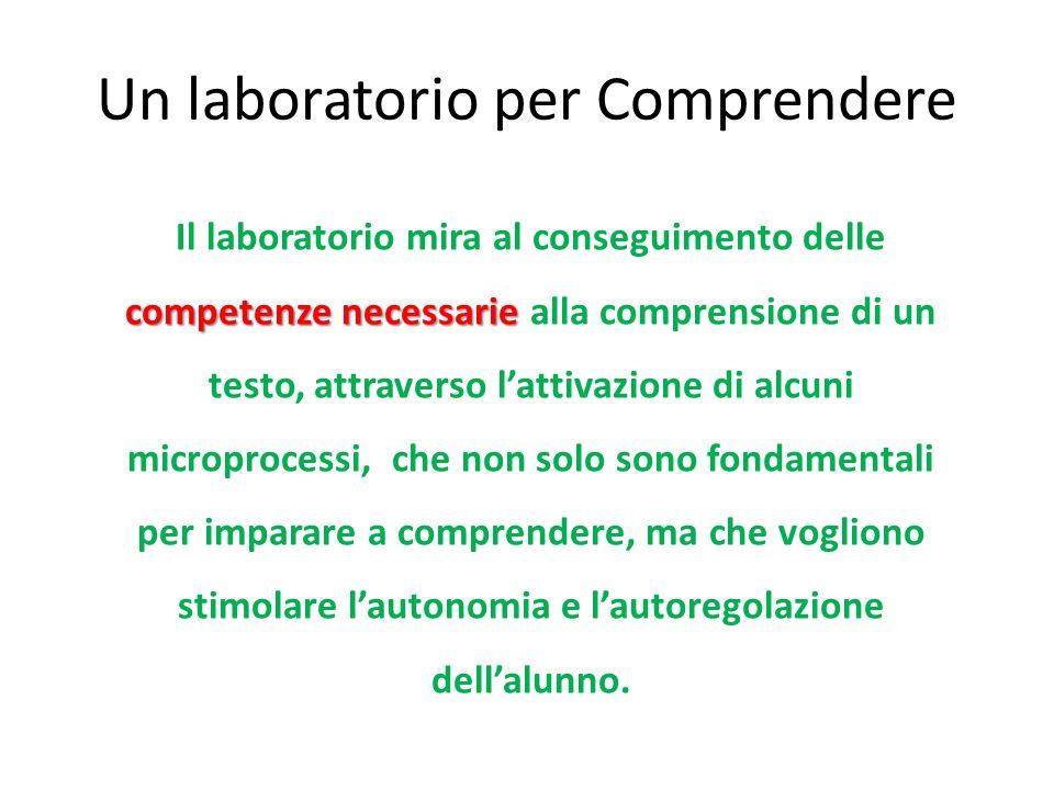 Un laboratorio per Comprendere competenze necessarie Il laboratorio mira al conseguimento delle competenze necessarie alla comprensione di un testo, a