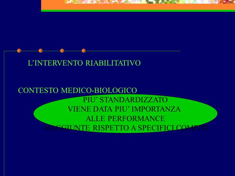 LINTERVENTO RIABILITATIVO CONTESTO MEDICO-BIOLOGICO PIU STANDARDIZZATO VIENE DATA PIU IMPORTANZA ALLE PERFORMANCE RAGGIUNTE RISPETTO A SPECIFICI COMPI