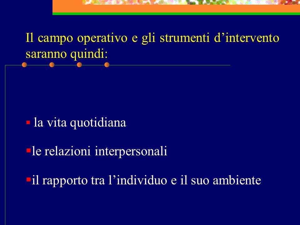 Il campo operativo e gli strumenti dintervento saranno quindi: la vita quotidiana le relazioni interpersonali il rapporto tra lindividuo e il suo ambi