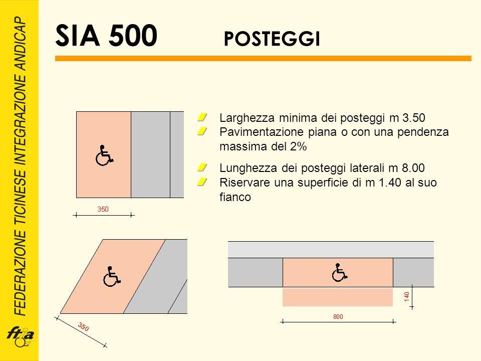 SIA 500 POSTEGGI Larghezza minima dei posteggi m 3.50 Pavimentazione piana o con una pendenza massima del 2% Lunghezza dei posteggi laterali m 8.00 Ri