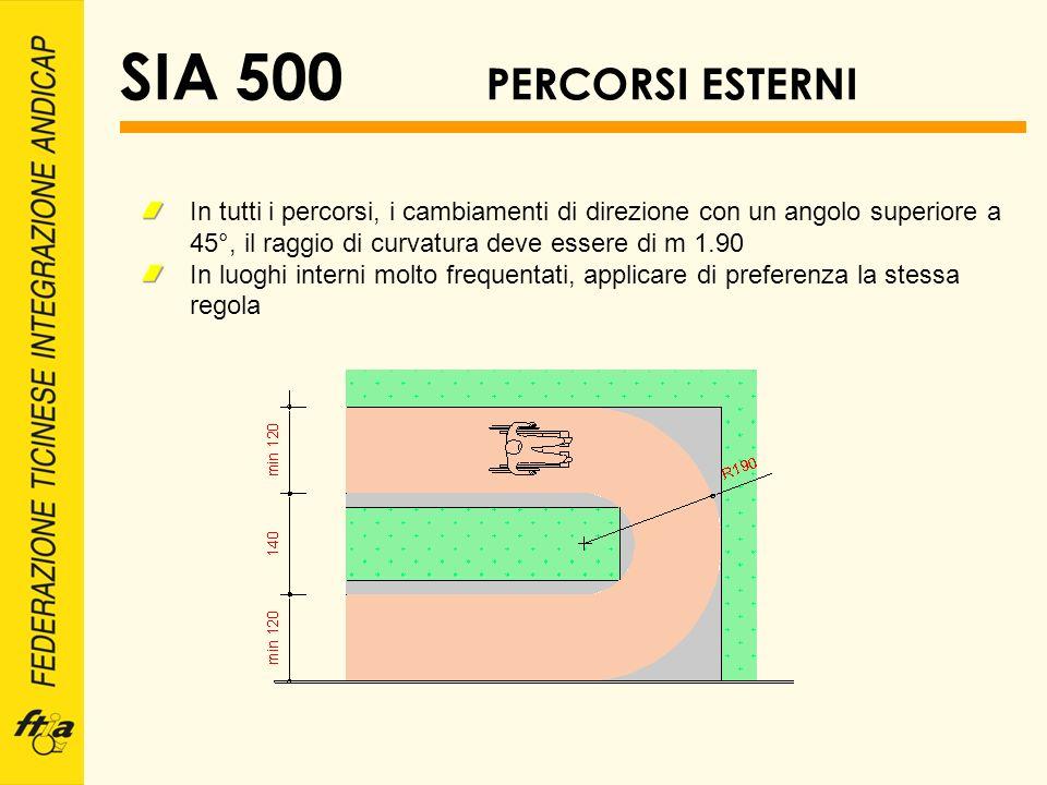 SIA 500 PERCORSI ESTERNI In tutti i percorsi, i cambiamenti di direzione con un angolo superiore a 45°, il raggio di curvatura deve essere di m 1.90 I