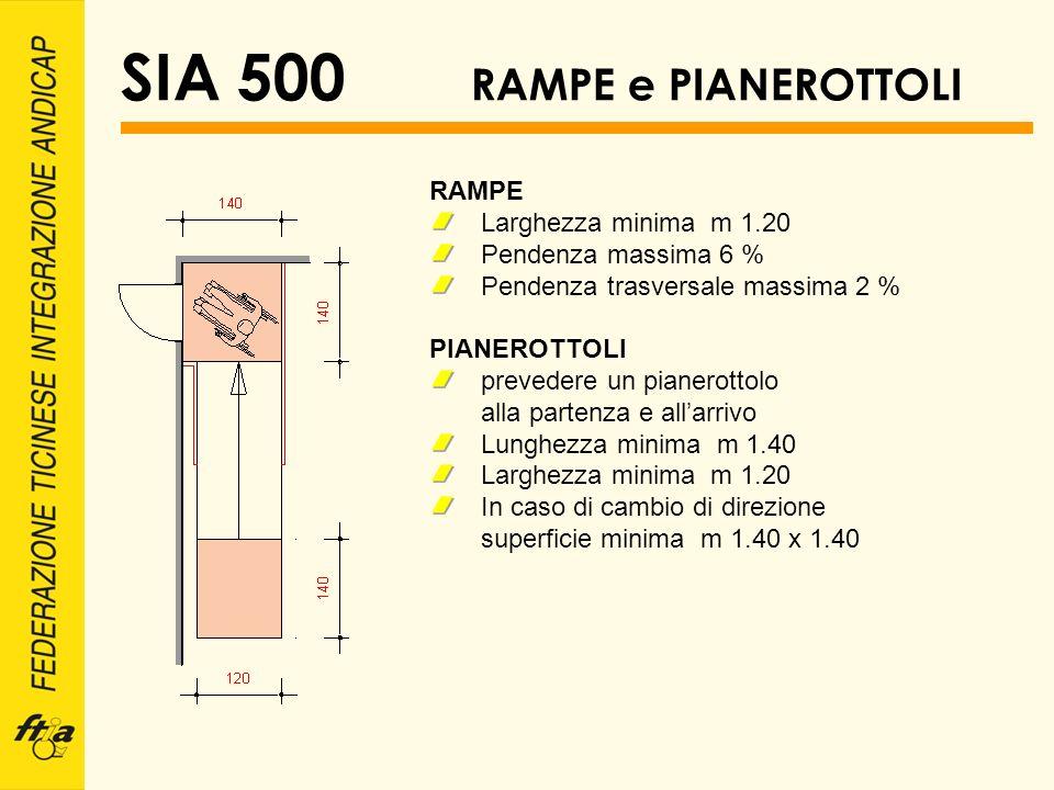 SIA 500 RAMPE e PIANEROTTOLI RAMPE Larghezza minima m 1.20 Pendenza massima 6 % Pendenza trasversale massima 2 % PIANEROTTOLI prevedere un pianerottol