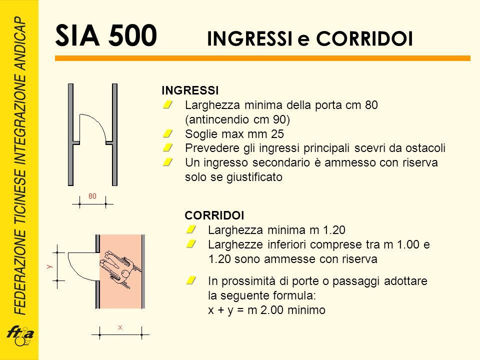 SIA 500 INGRESSI e CORRIDOI INGRESSI Larghezza minima della porta cm 80 (antincendio cm 90) Soglie max mm 25 Prevedere gli ingressi principali scevri