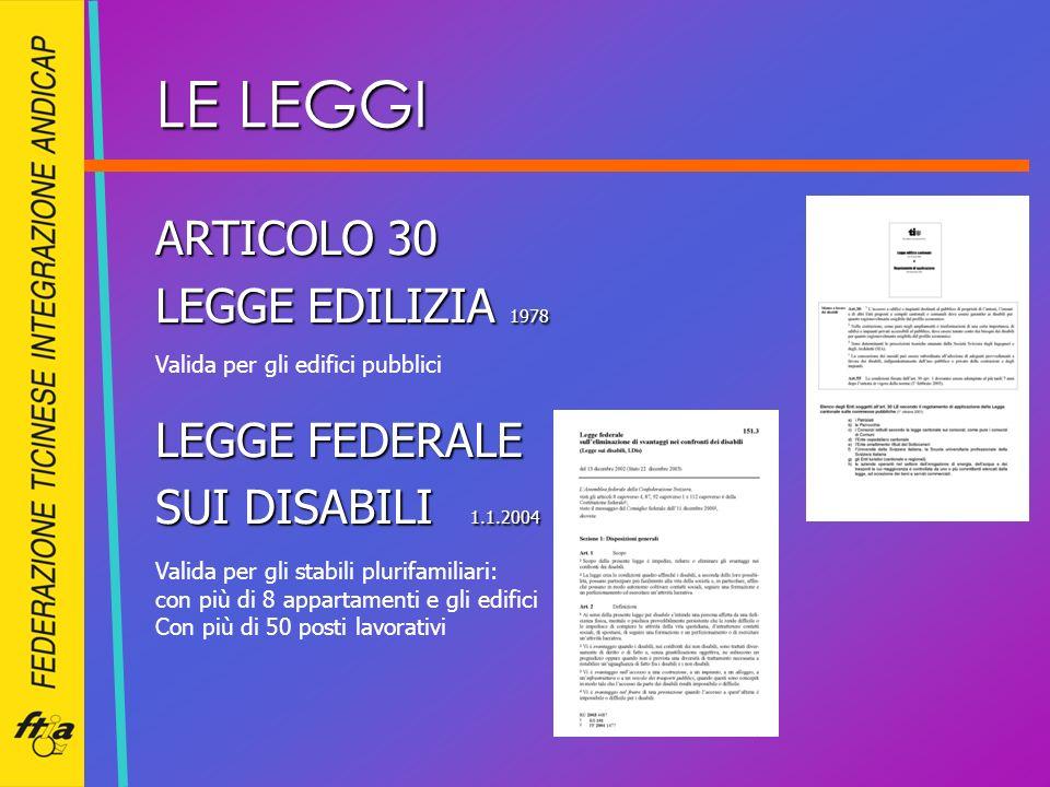 LE LEGGI ARTICOLO 30 LEGGE EDILIZIA 1978 LEGGE FEDERALE SUI DISABILI 1.1.2004 Valida per gli edifici pubblici Valida per gli stabili plurifamiliari: c