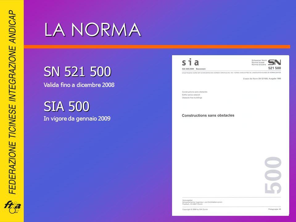 SN 521 500 SIA 500 Valida fino a dicembre 2008 In vigore da gennaio 2009 LA NORMA