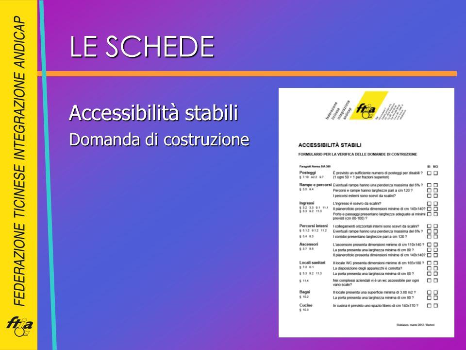 LE SCHEDE Accessibilità stabili Domanda di costruzione