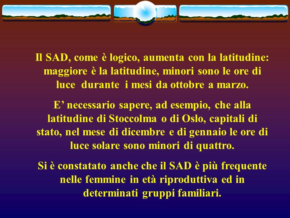 Il SAD, come è logico, aumenta con la latitudine: maggiore è la latitudine, minori sono le ore di luce durante i mesi da ottobre a marzo.