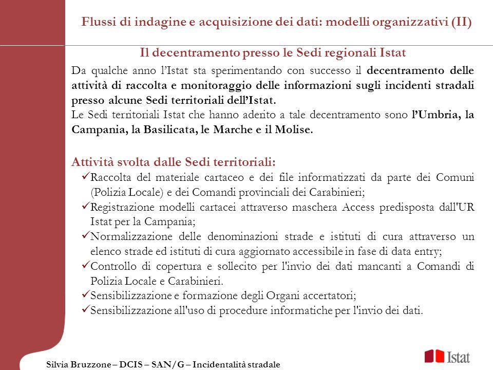 Silvia Bruzzone – DCIS – SAN/G – Incidentalità stradale Il decentramento presso le Sedi regionali Istat Da qualche anno lIstat sta sperimentando con s