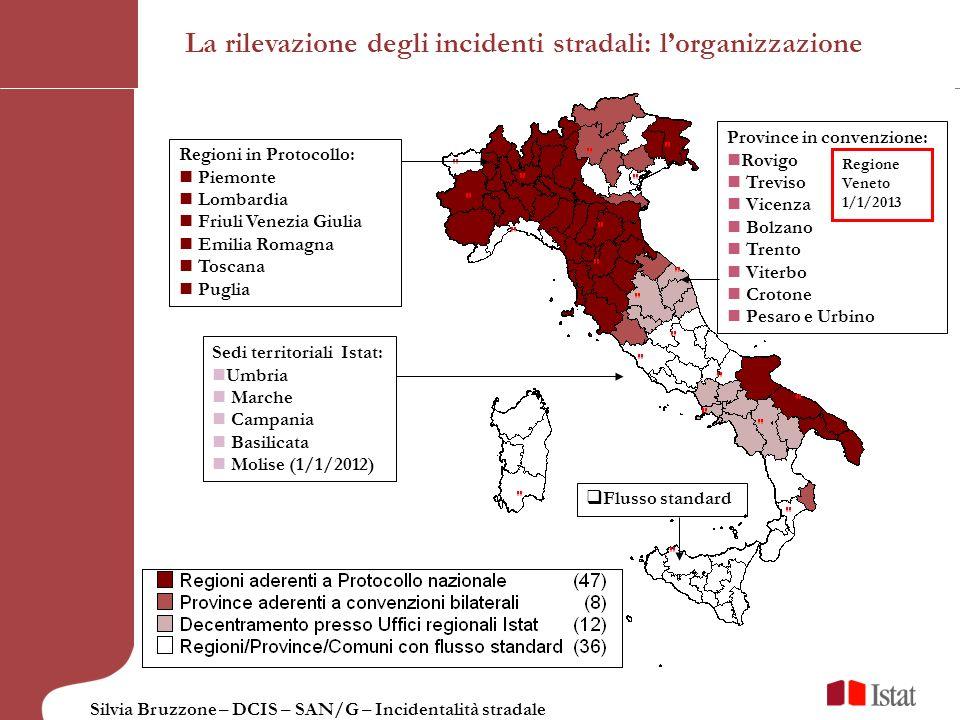 Silvia Bruzzone – DCIS – SAN/G – Incidentalità stradale Sedi territoriali Istat: Umbria Marche Campania Basilicata Molise (1/1/2012) Regioni in Protoc