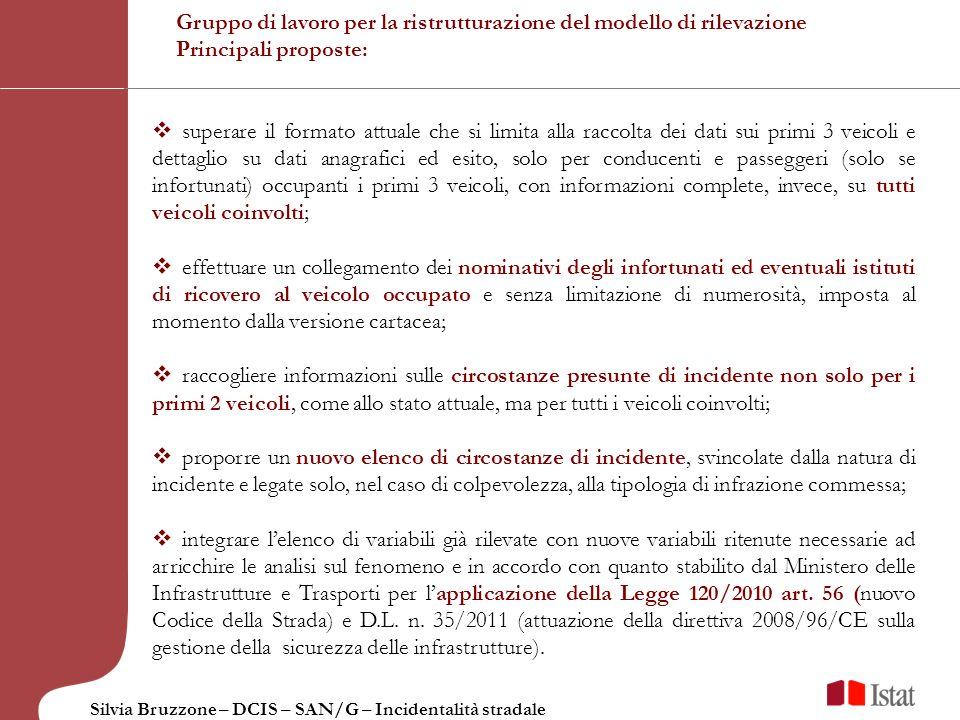 Silvia Bruzzone – DCIS – SAN/G – Incidentalità stradale Gruppo di lavoro per la ristrutturazione del modello di rilevazione Principali proposte: super
