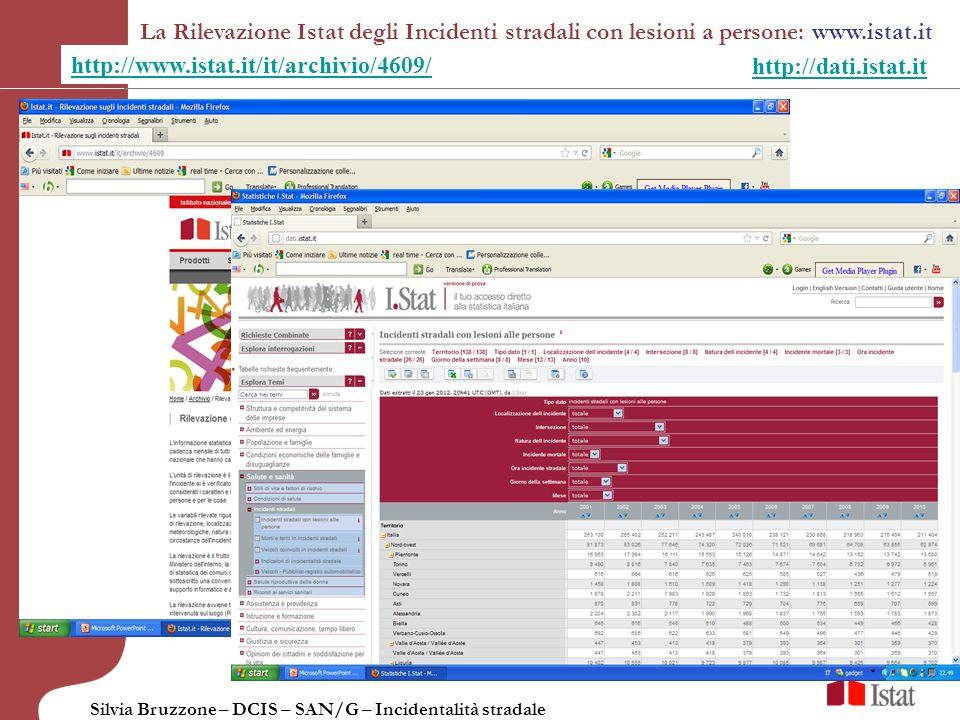 Silvia Bruzzone – DCIS – SAN/G – Incidentalità stradale La Rilevazione Istat degli Incidenti stradali con lesioni a persone: www.istat.it http://www.i