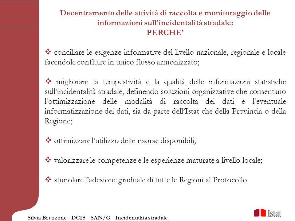 Silvia Bruzzone – DCIS – SAN/G – Incidentalità stradale Il Protocollo di intesa nazionale e le Convenzioni stipulati con Regioni, Province Autonome e Province: Nel dicembre 2007 è stato firmato per la prima volta un Protocollo di intesa, a durata triennale, per il coordinamento delle attività inerenti la rilevazione statistica sullincidentalità stradale.