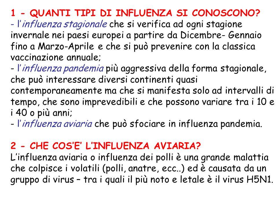 1 - QUANTI TIPI DI INFLUENZA SI CONOSCONO? - linfluenza stagionale che si verifica ad ogni stagione invernale nei paesi europei a partire da Dicembre-