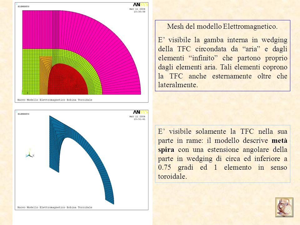Mesh del modello Elettromagnetico. E visibile la gamba interna in wedging della TFC circondata da aria e dagli elementi infinito che partono proprio d