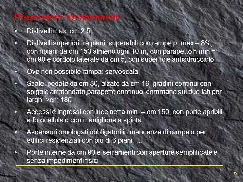 Prescrizioni fondamentali: Dislivelli max: cm 2.5 Dislivelli superiori tra piani: superabili con rampe p. max = 8%, con ripiani da cm 150 almeno ogni