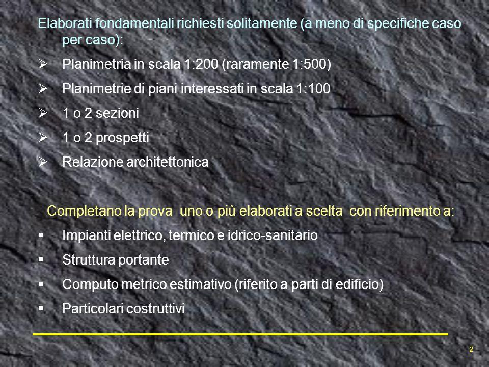 Elaborati fondamentali richiesti solitamente (a meno di specifiche caso per caso): Planimetria in scala 1:200 (raramente 1:500) Planimetrie di piani i
