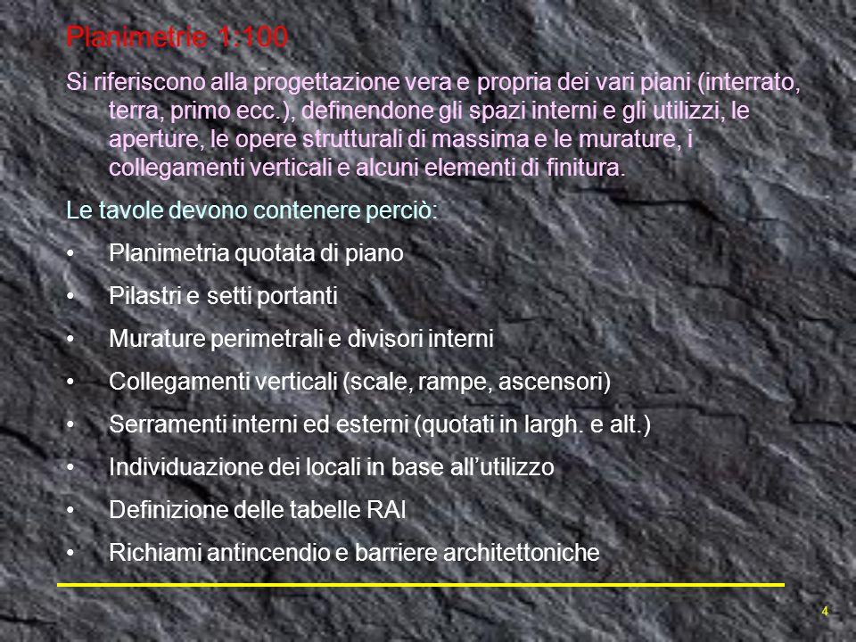 Planimetrie 1:100 Si riferiscono alla progettazione vera e propria dei vari piani (interrato, terra, primo ecc.), definendone gli spazi interni e gli