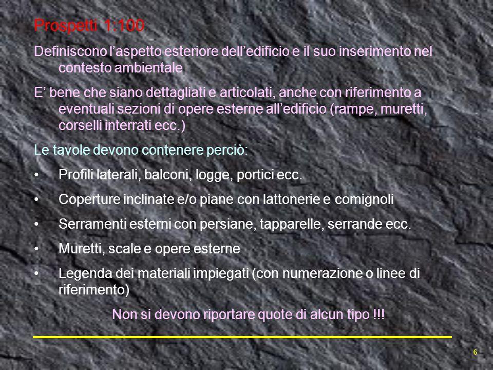 Prospetti 1:100 Definiscono laspetto esteriore delledificio e il suo inserimento nel contesto ambientale E bene che siano dettagliati e articolati, an