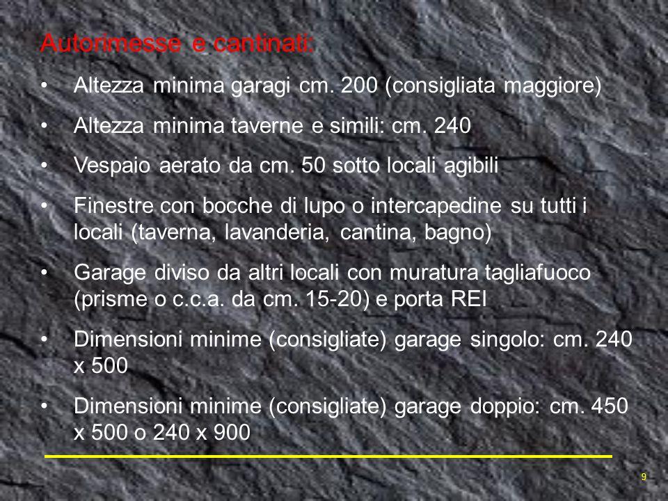 Autorimesse e cantinati: Altezza minima garagi cm. 200 (consigliata maggiore) Altezza minima taverne e simili: cm. 240 Vespaio aerato da cm. 50 sotto