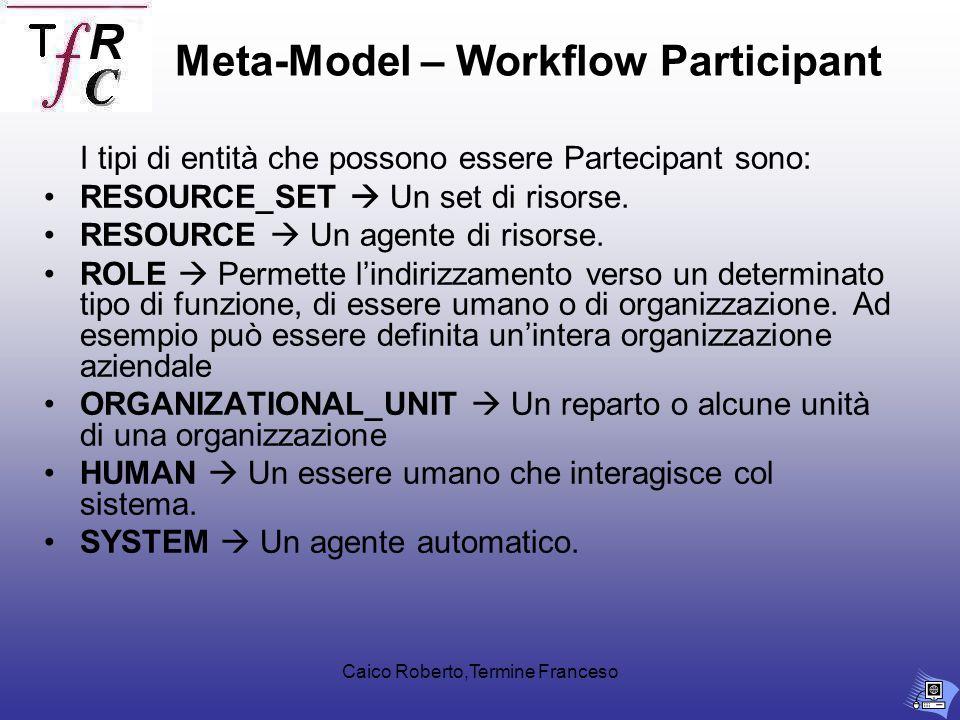 Caico Roberto,Termine Franceso I tipi di entità che possono essere Partecipant sono: RESOURCE_SET Un set di risorse.