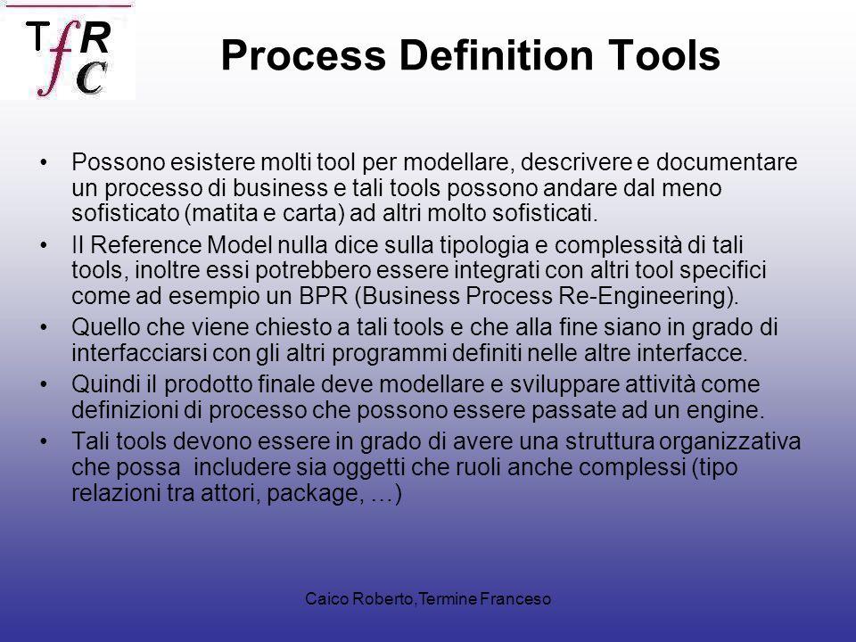 Caico Roberto,Termine Franceso Possono esistere molti tool per modellare, descrivere e documentare un processo di business e tali tools possono andare dal meno sofisticato (matita e carta) ad altri molto sofisticati.