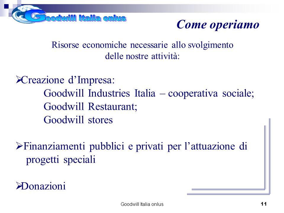 Goodwill Italia onlus11 Risorse economiche necessarie allo svolgimento delle nostre attività: Creazione dImpresa: Goodwill Industries Italia – cooperativa sociale; Goodwill Restaurant; Goodwill stores Finanziamenti pubblici e privati per lattuazione di progetti speciali Donazioni Come operiamo