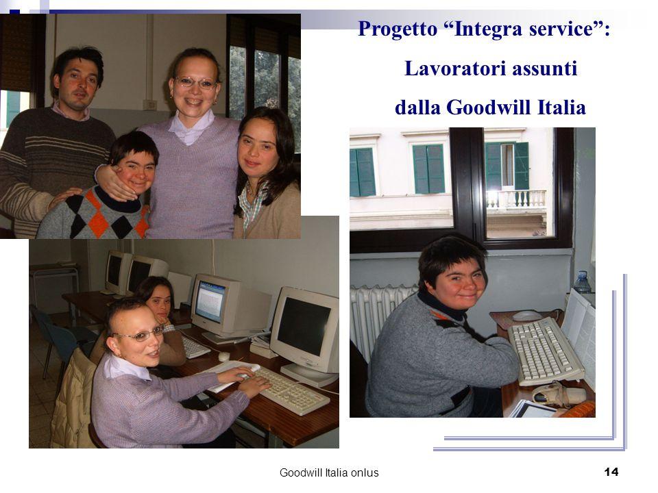 Goodwill Italia onlus14 Progetto Integra service: Lavoratori assunti dalla Goodwill Italia