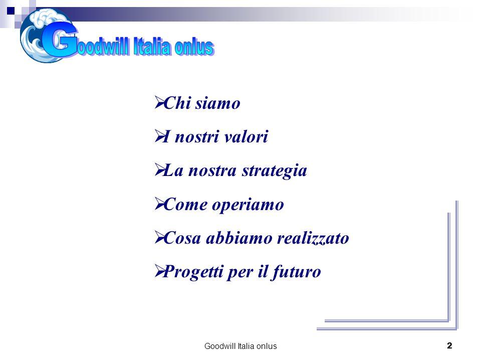 Goodwill Italia onlus2 Chi siamo I nostri valori La nostra strategia Come operiamo Cosa abbiamo realizzato Progetti per il futuro