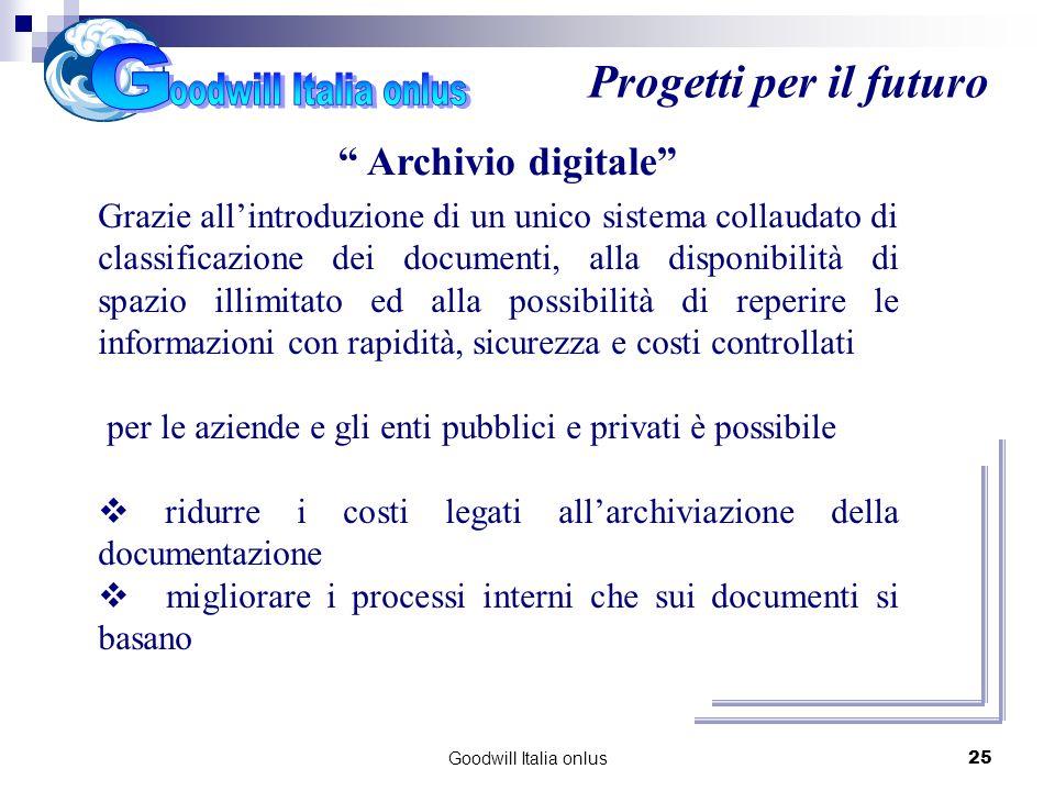 Goodwill Italia onlus25 Progetti per il futuro Archivio digitale Grazie allintroduzione di un unico sistema collaudato di classificazione dei document