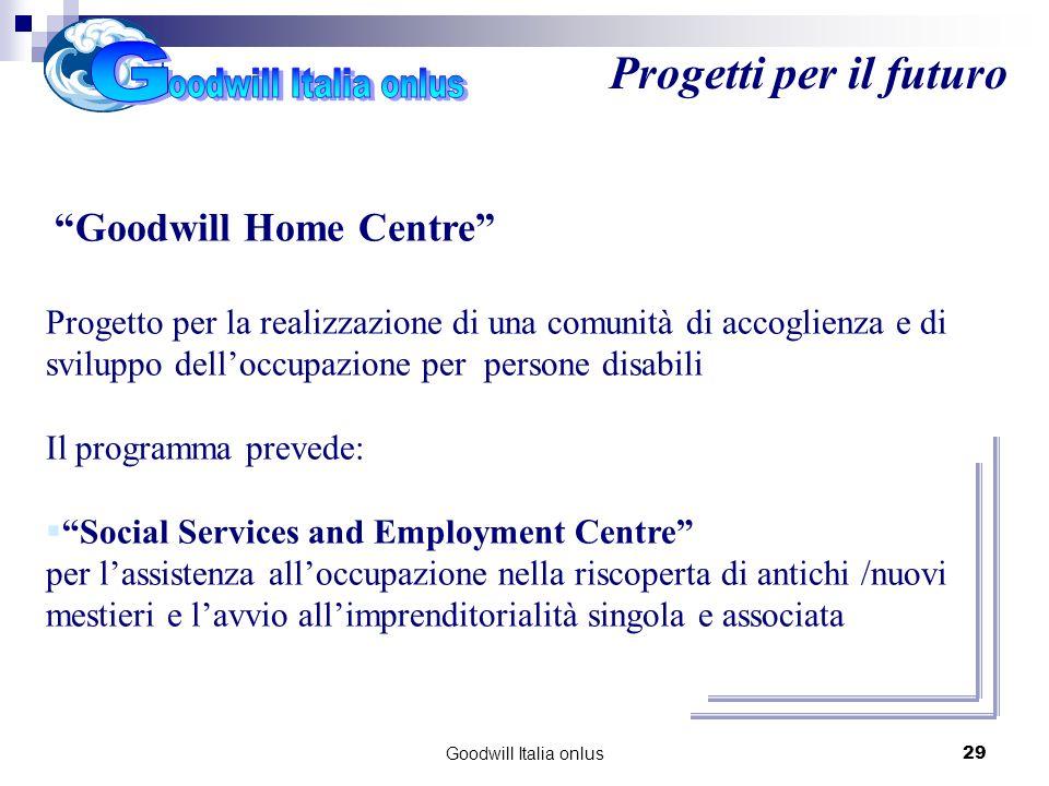 Goodwill Italia onlus29 Progetti per il futuro Goodwill Home Centre Progetto per la realizzazione di una comunità di accoglienza e di sviluppo dellocc