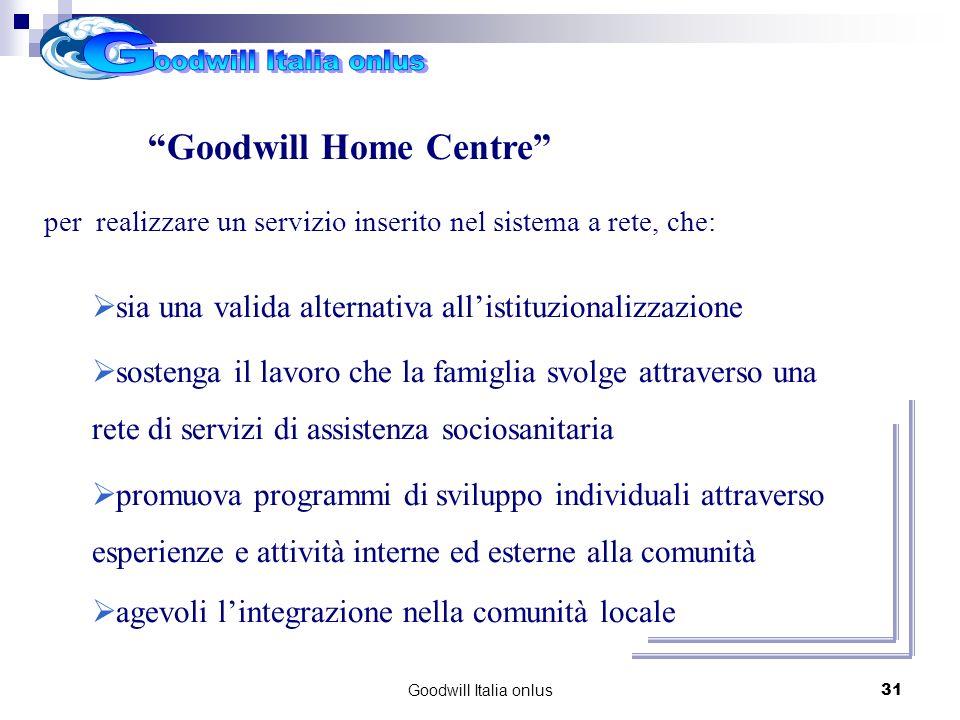 Goodwill Italia onlus31 Progetti per il futuro Goodwill Home Centre per realizzare un servizio inserito nel sistema a rete, che: sia una valida altern