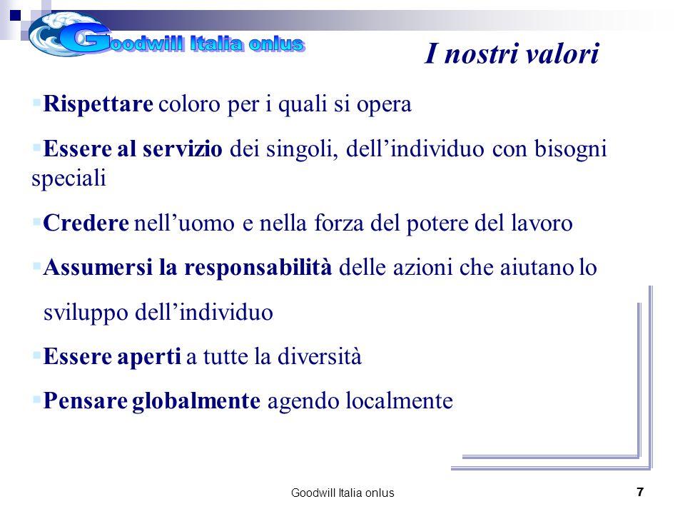 Goodwill Italia onlus7 I nostri valori Rispettare coloro per i quali si opera Essere al servizio dei singoli, dellindividuo con bisogni speciali Credere nelluomo e nella forza del potere del lavoro Assumersi la responsabilità delle azioni che aiutano lo sviluppo dellindividuo Essere aperti a tutte la diversità Pensare globalmente agendo localmente