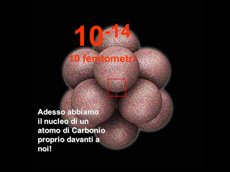 In questa incredibile e minuscola dimensione iniziamo ad osservare il nucleo dellatomo, così piccolo. 10 -13 100 femtometri