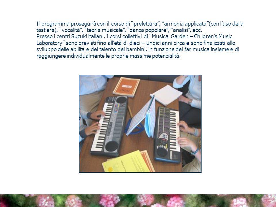 Il programma proseguirà con il corso di prelettura, armonia applicata(con luso della tastiera), vocalità, teoria musicale, danza popolare, analisi, ecc.