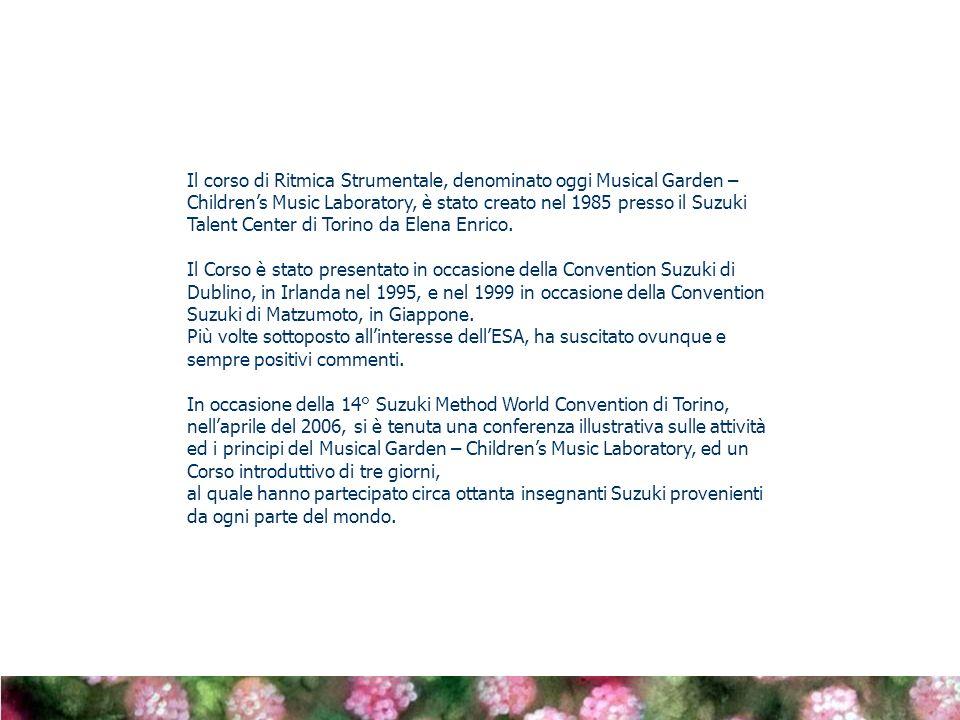 Il corso di Ritmica Strumentale, denominato oggi Musical Garden – Childrens Music Laboratory, è stato creato nel 1985 presso il Suzuki Talent Center di Torino da Elena Enrico.