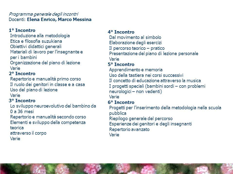 Programma generale degli incontri Docenti: Elena Enrico, Marco Messina 1° Incontro Introduzione alla metodologia Etica e filosofia suzukiana Obiettivi