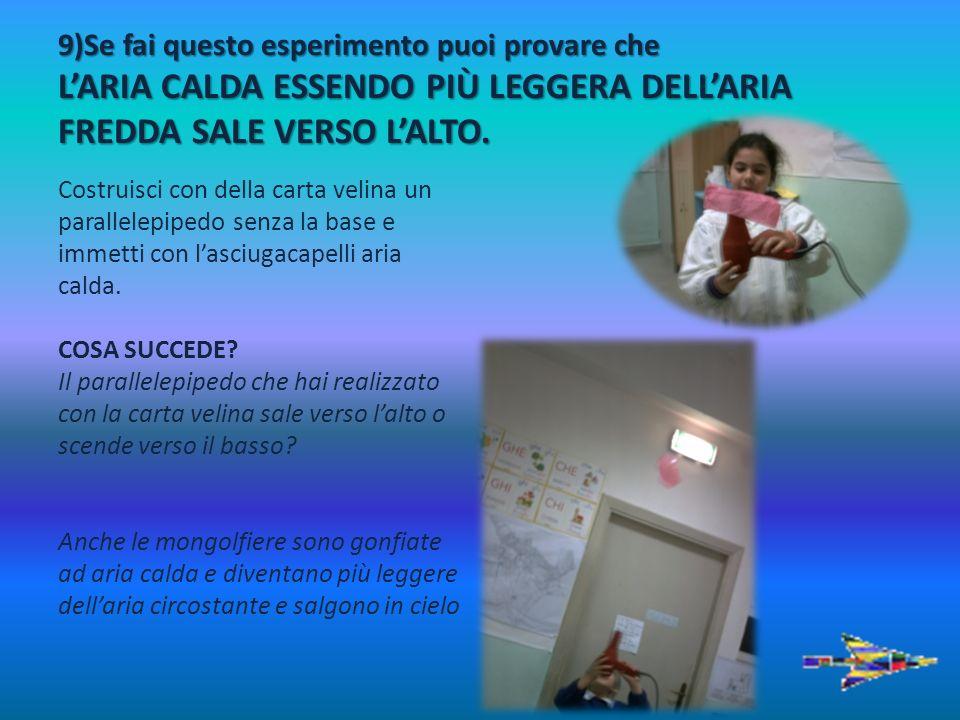 9)Se fai questo esperimento puoi provare che LARIA CALDA ESSENDO PIÙ LEGGERA DELLARIA FREDDA SALE VERSO LALTO. Costruisci con della carta velina un pa