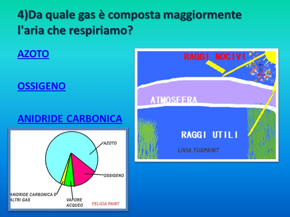 4)Da quale gas è composta maggiormente l'aria che respiriamo? AZOTO OSSIGENO ANIDRIDE CARBONICA