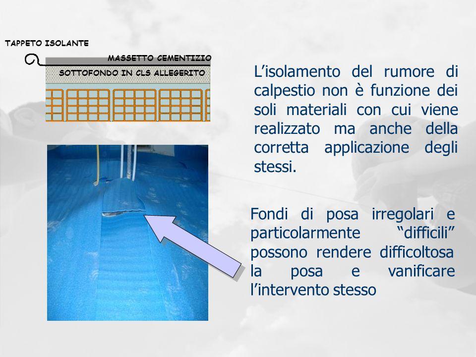 SOTTOFONDO IN CLS ALLEGERITO MASSETTO CEMENTIZIO TAPPETO ISOLANTE Lisolamento del rumore di calpestio non è funzione dei soli materiali con cui viene