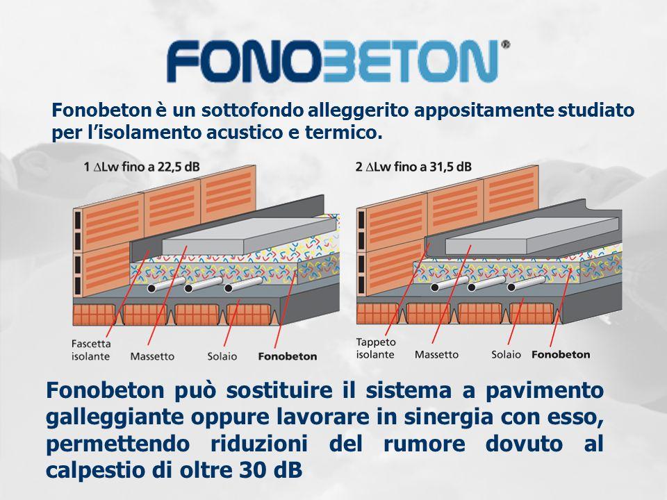 Fonobeton è un sottofondo alleggerito appositamente studiato per lisolamento acustico e termico. Fonobeton può sostituire il sistema a pavimento galle
