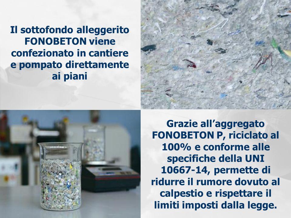 Il sottofondo alleggerito FONOBETON viene confezionato in cantiere e pompato direttamente ai piani Grazie allaggregato FONOBETON P, riciclato al 100%