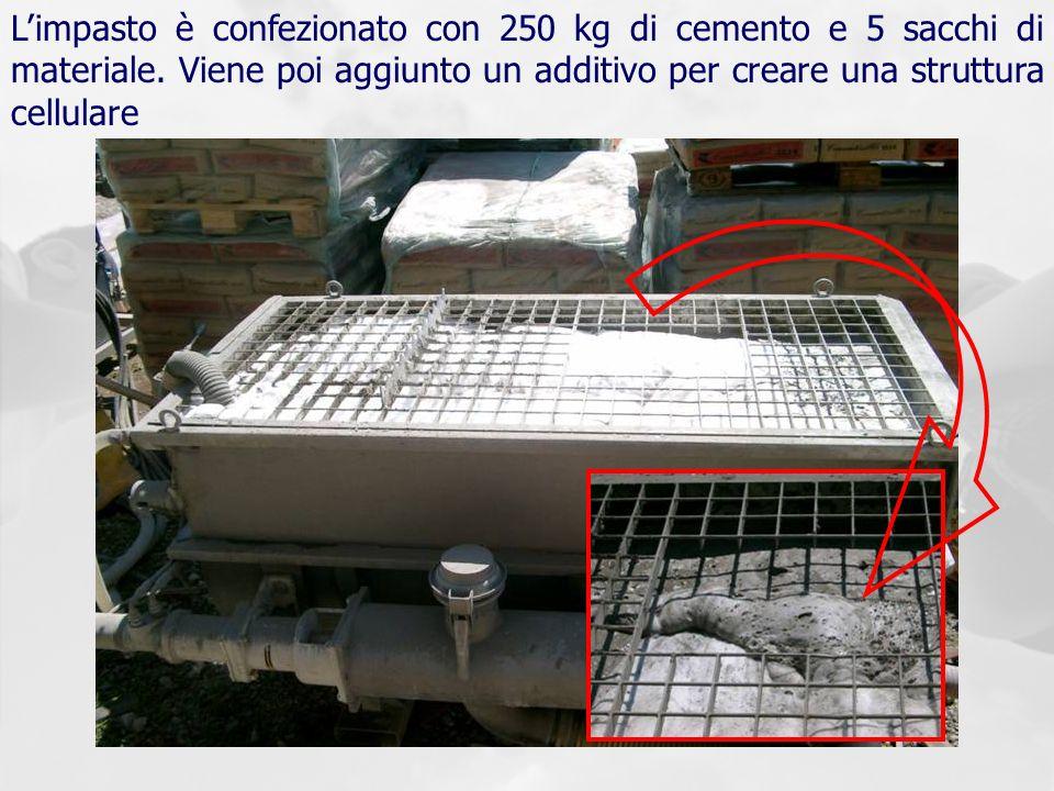 Limpasto è confezionato con 250 kg di cemento e 5 sacchi di materiale. Viene poi aggiunto un additivo per creare una struttura cellulare