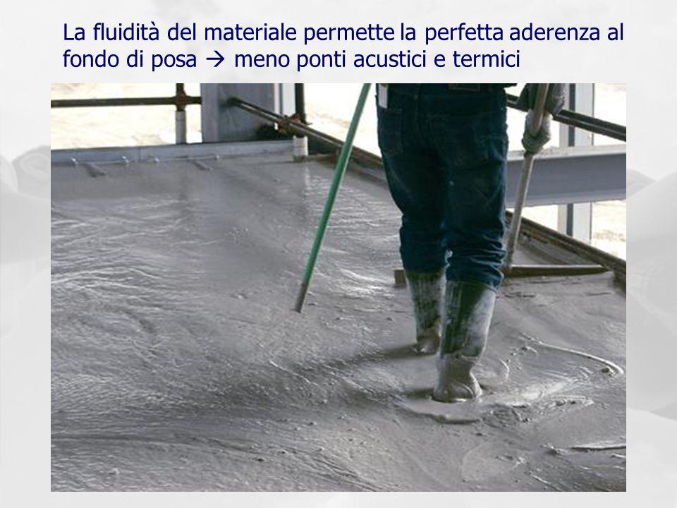 La fluidità del materiale permette la perfetta aderenza al fondo di posa meno ponti acustici e termici