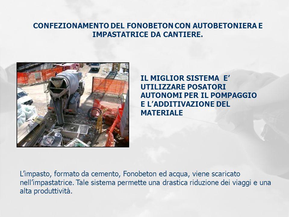 CONFEZIONAMENTO DEL FONOBETON CON AUTOBETONIERA E IMPASTATRICE DA CANTIERE. Limpasto, formato da cemento, Fonobeton ed acqua, viene scaricato nellimpa