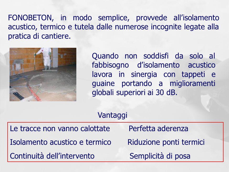 FONOBETON, in modo semplice, provvede allisolamento acustico, termico e tutela dalle numerose incognite legate alla pratica di cantiere. Quando non so